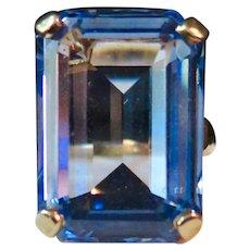 Vintage Blue Topaz 14K Gold Ring, Spectacular!