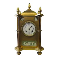 Vintage Bronze & Jasper Mantle Clock