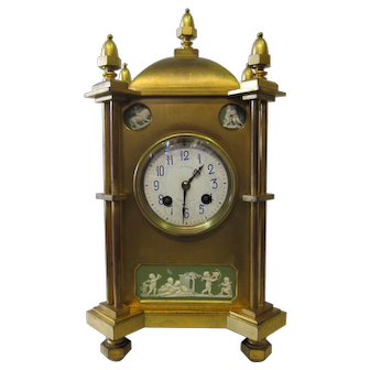 Vintage Bronze & Jasper Mantle Clock