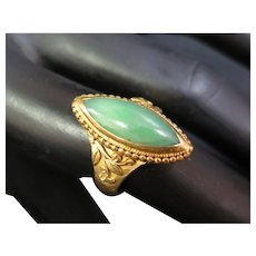 Vintage 24K Gold Chinese Jade Ring