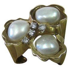 Vintage Pearl & Diamond 14K Gold Ring