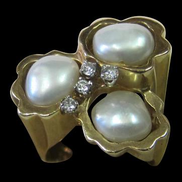 Vintage Pearl & Diamond 14K Gold Ring