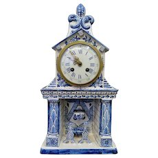 Vintage Late 19th Century Continental Pottery Clock