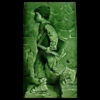 Vintage Late 19th Century Craven, Dunhill & Co. English Portrait Pottery Tile