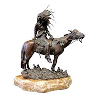 Vintage Patinated bronze Indian Chief on Horse by Carl Kauba