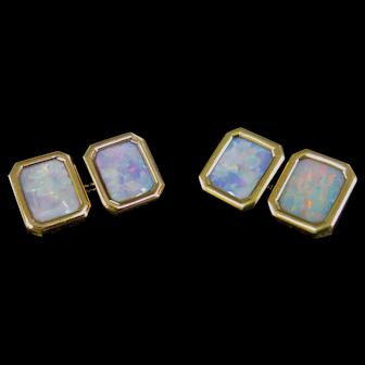 Vintage Opal & 14K Gold Cufflinks
