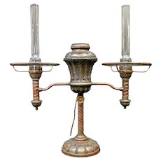 Tiffany Studios Double Student Lamp