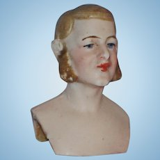 Bisque Male Dollhouse Shoulder Head with Mutton Chops  Germany 1900s-on
