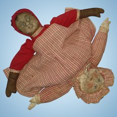 Early Bruckner Topsy Turvy Cloth Doll As Is 1901-on