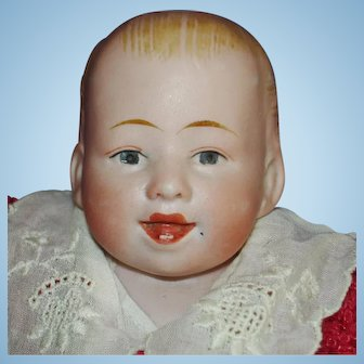 Gebruder Knock Character Baby Bisque Head Doll Germany c1912