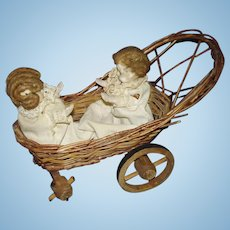 Mechanical Two Babies in Wicker Carriage Pull Toy To Restore