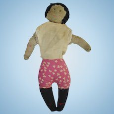 Early Stitched Face Rag Primitive Cloth Doll American Folk Art
