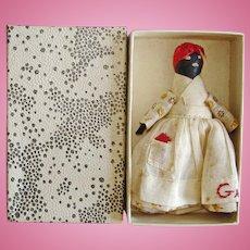 Rubber Nipple Black Mammy Doll American Folk Art 1920s-30s Boxed!