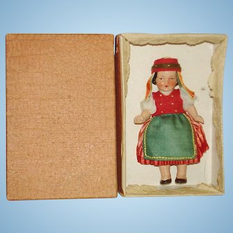 Romania Painted Bisque Hertwig Doll in Box 1930s-on