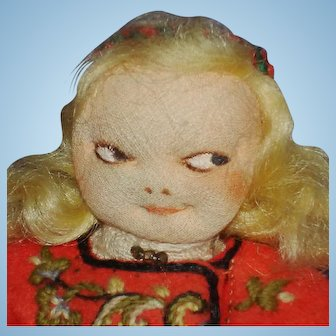 Early Ronnaug Petterssen Flat Face Cloth Girl Doll 1930s Norway