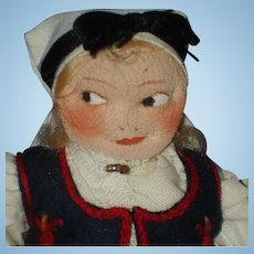 Early Ronnaug Petterssen Flat Face Sunmore Cloth Girl Doll 1930s Norway