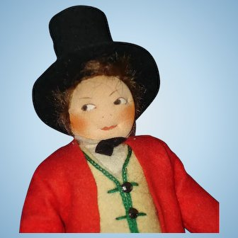Early Ronnaug Petterssen Flat Face Groom Cloth Doll 1930s Norway