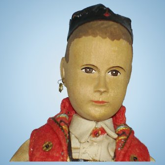 """Vintage 8"""" Swiss Linden Wood Boy Doll Hand Carved"""