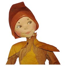 """10"""" Todhunter Leather Elf Doll England 1920s-30s Wee Folk"""
