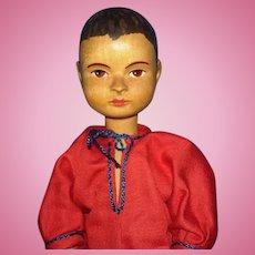 """10.5"""" Swiss Wooden Boy Doll Switzerland Vintage"""