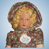 Unusual Pomsons Elizabeth Cloth Doll England 1920's-on As Is