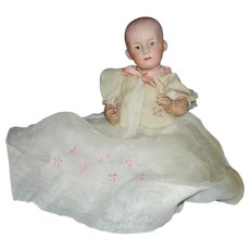 """10"""" Heubach 7602 Bisque Head Baby Doll Germany 1910-on"""