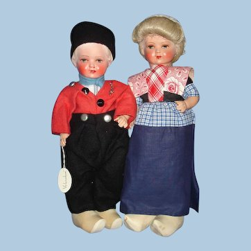 Vitnage Dutch Composition & Cloth Travel Dolls 1930's-on