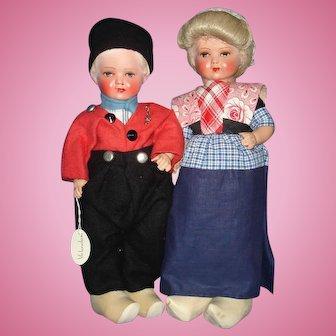 Dutch Composition & Cloth Travel Dolls 1930's-on