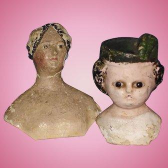2 Paper Mache Doll Shoulder Heads For Restoration