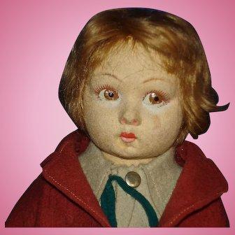 Lenci School Boy Lucia Face Felt Doll Italy 1930s