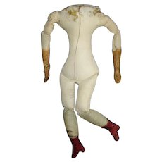 """13"""" Early Cloth Body for China or Paper Mache with Red Boots"""