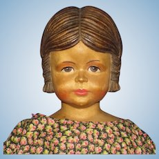 "Rare 13"" Baby Swiss Wooden & Cloth Doll 1930s-on Switzerland"