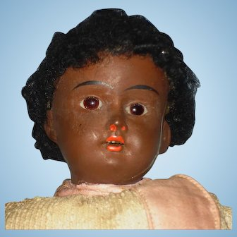 """11"""" Brown Bisque Head 201 Brown Bisque Headed Doll Germany 1900's-on To Restore"""