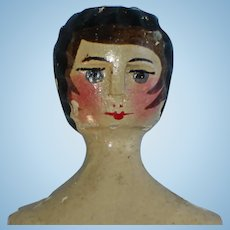 Painted Wood Shoulder Head Purse Novelty Doll Vintage