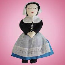 "Vintge 7"" Evangeline Cloth Doll WINS Canada"