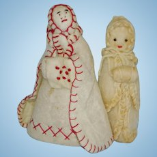 2 Early Cotton Batting Holiday Cloth Dolls