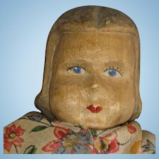 """Early 8"""" Carved Wooden Doll European"""