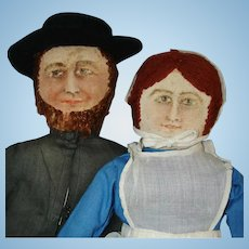 Painted Face Cloth Amish Couple Dolls USA Vintage