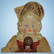 "Early 18"" Estonian Cloth Doll 1940s-on Well Loved!"