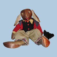 """18"""" Uncle Wiggly Cloth Rag Doll c1943"""
