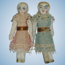 Untinted All Bisque Pair in Original Clothes Germany 1890's-on