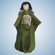 "Vintage 14.5"" Japanese Geisha Cloth Rag Doll with Silk Face"