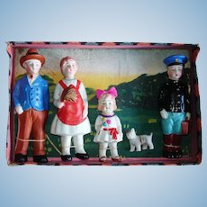 Japanese Family Immobile All Bisque Dolls Tied to Box! Japan 1920s-on