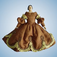 "6 1/4"" Milliners Model Paper Mache Doll with Bun 1820s-on Germany"