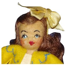 """4 1/4"""" Tiny Town Doll House Doll in Yellow 1948-on"""
