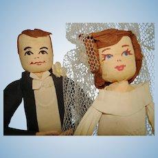 """Vintage 9"""" Crepe Paper Bride & Groom Cake Topper Dolls 1940s-50s"""
