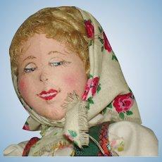"""Ilse Ludecke 13.5"""" Martha CLoth Doll & Paperwork c1947-on Asparagus Seller!"""