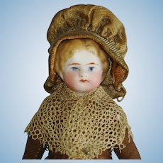 """5"""" Tinted Bisque Doll House Lady Germany 1880's-0n"""
