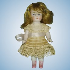 """3 3/4"""" All Bisque Doll with Pink Boots Germany 1880-1910"""