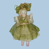 """3 1/2"""" All Bisque Jointed Doll with Pink Boots Germany 1880-1910"""